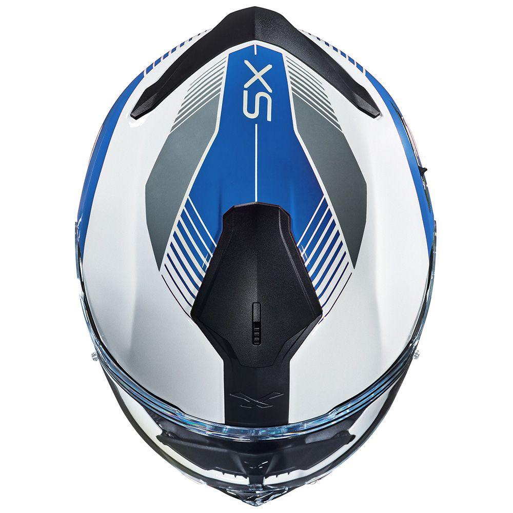 Capacete Nexx SX100 PopUp Azul/Branco + Pinlock  - Nova Centro Boutique Roupas para Motociclistas