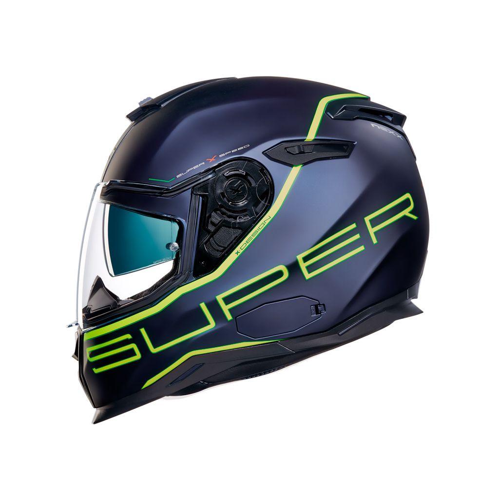 Capacete Nexx SX100 Superspeed Azul/Amarelo Fosco + Pinlock - LANÇAMENTO 2019 - Black Friday  - Nova Centro Boutique Roupas para Motociclistas