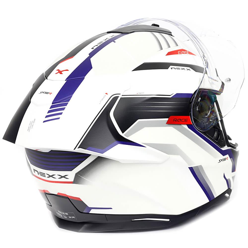 Capacete Nexx SX100R Gridline Branco c/ Azul Fosco + Pinlock - LANÇAMENTO 2020  - Nova Centro Boutique Roupas para Motociclistas