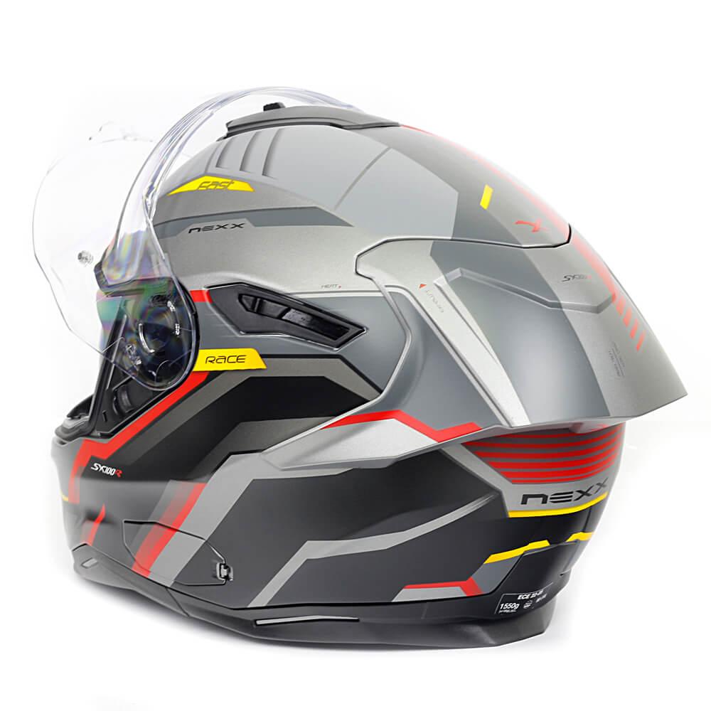 Capacete Nexx SX100R Gridline Cinza c/ Vermelho Fosco + Pinlock - LANÇAMENTO 2020  - Nova Centro Boutique Roupas para Motociclistas