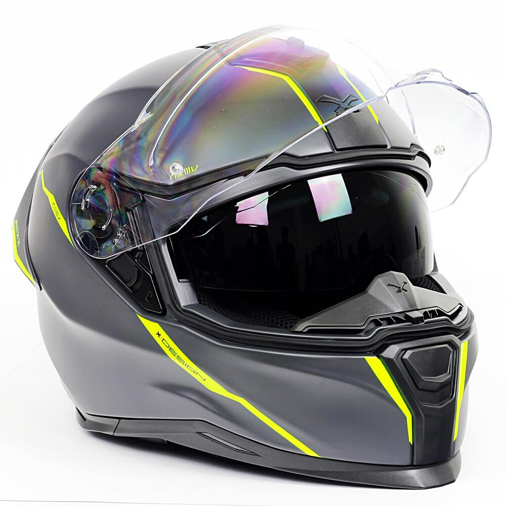 Capacete Nexx SX100R Shortcut Cinza c/ Neon Fosco + Pinlock - LANÇAMENTO 2020  - Nova Centro Boutique Roupas para Motociclistas