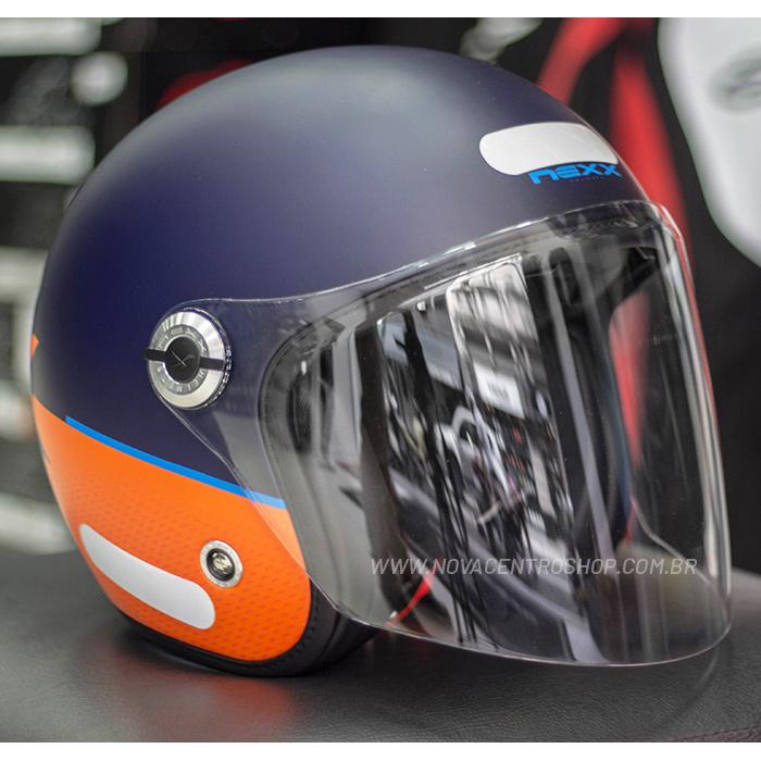 Capacete Nexx X70 City Azul Laranja Fosco - Aberto  - Nova Centro Boutique Roupas para Motociclistas