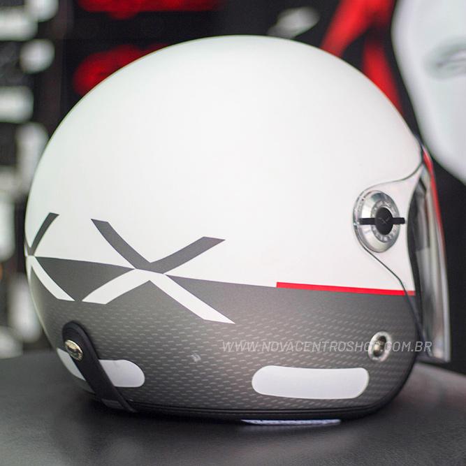 Capacete Nexx X70 City Branco Preto Fosco - Aberto  - Nova Centro Boutique Roupas para Motociclistas