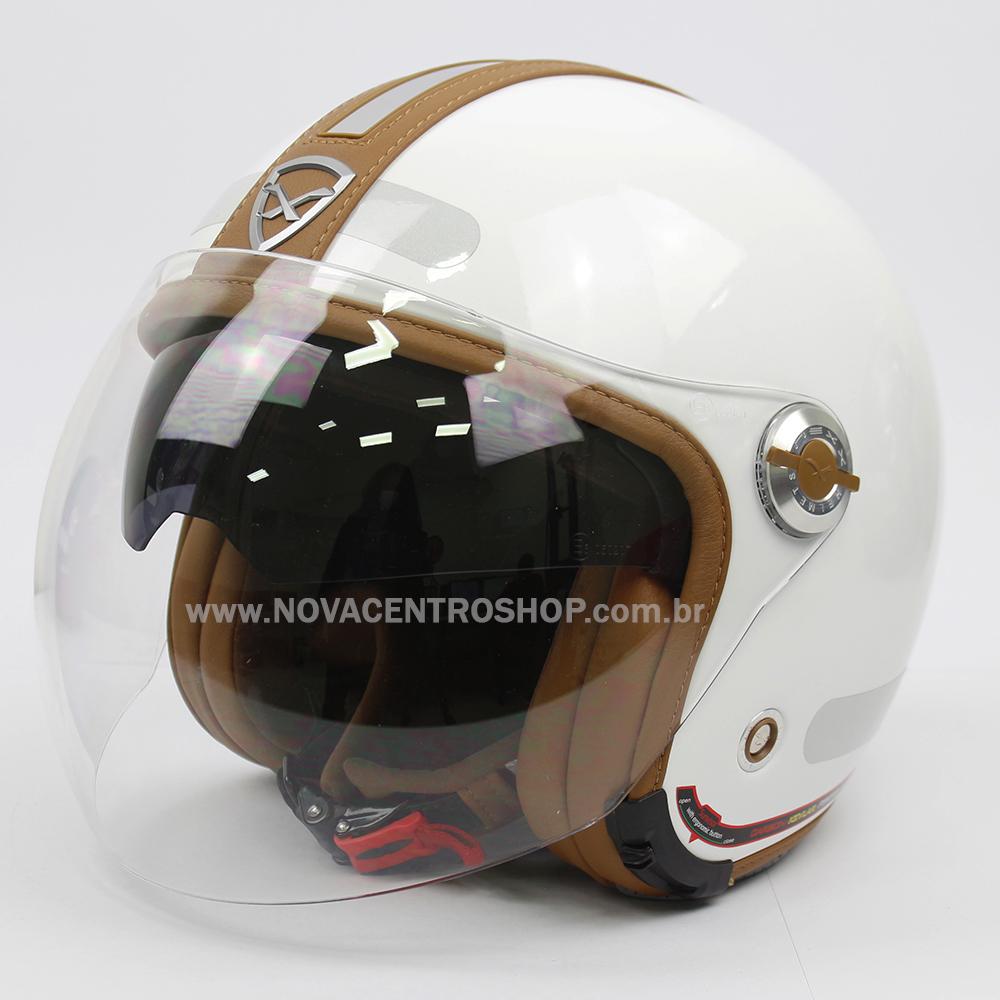 Capacete Nexx X70 Groovy Branco Camel Tri-Composto - Aberto  - Nova Centro Boutique Roupas para Motociclistas