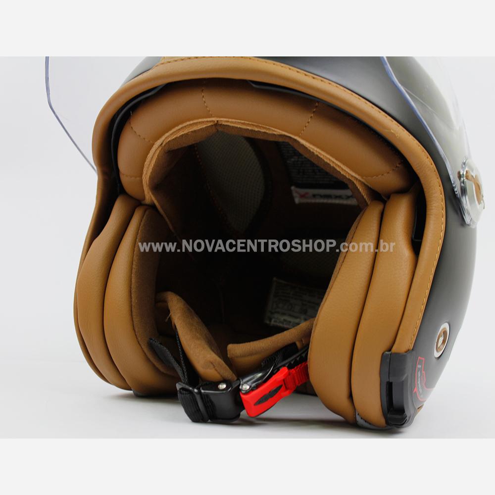 Capacete Nexx X70 Groovy Preto Fosco Camel Tri-Composto - Aberto  - Nova Centro Boutique Roupas para Motociclistas