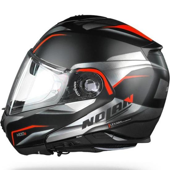 Capacete Nolan N100-5 Balteus - Preto/Cinza/Vermelho (42) - c/ Viseira Interna  - Nova Centro Boutique Roupas para Motociclistas