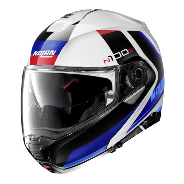Capacete Nolan N100-5 Hilltop - Branco/Azul (49) - c/ Viseira Interna  - Nova Centro Boutique Roupas para Motociclistas