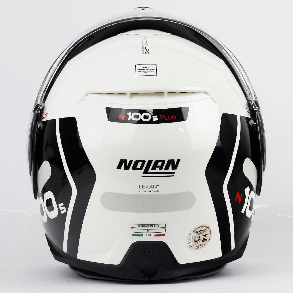 Capacete Nolan N100-5 Plus Distinctive - Branco/Preto - c/ Viseira Interna - Escamoteável  - Nova Centro Boutique Roupas para Motociclistas
