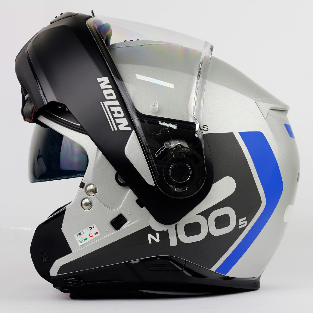 Capacete Nolan N100-5 Plus Distinctive - Preto/Cinza/Azul - c/ Viseira Interna - Escamoteável