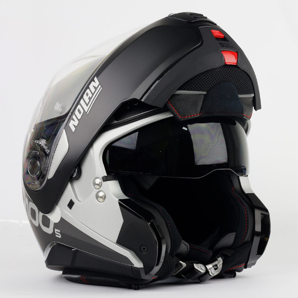Capacete Nolan N100-5 Plus Distinctive - Preto/Cinza/Azul (30) - c/ Viseira Interna - Escamoteável  - Nova Centro Boutique Roupas para Motociclistas