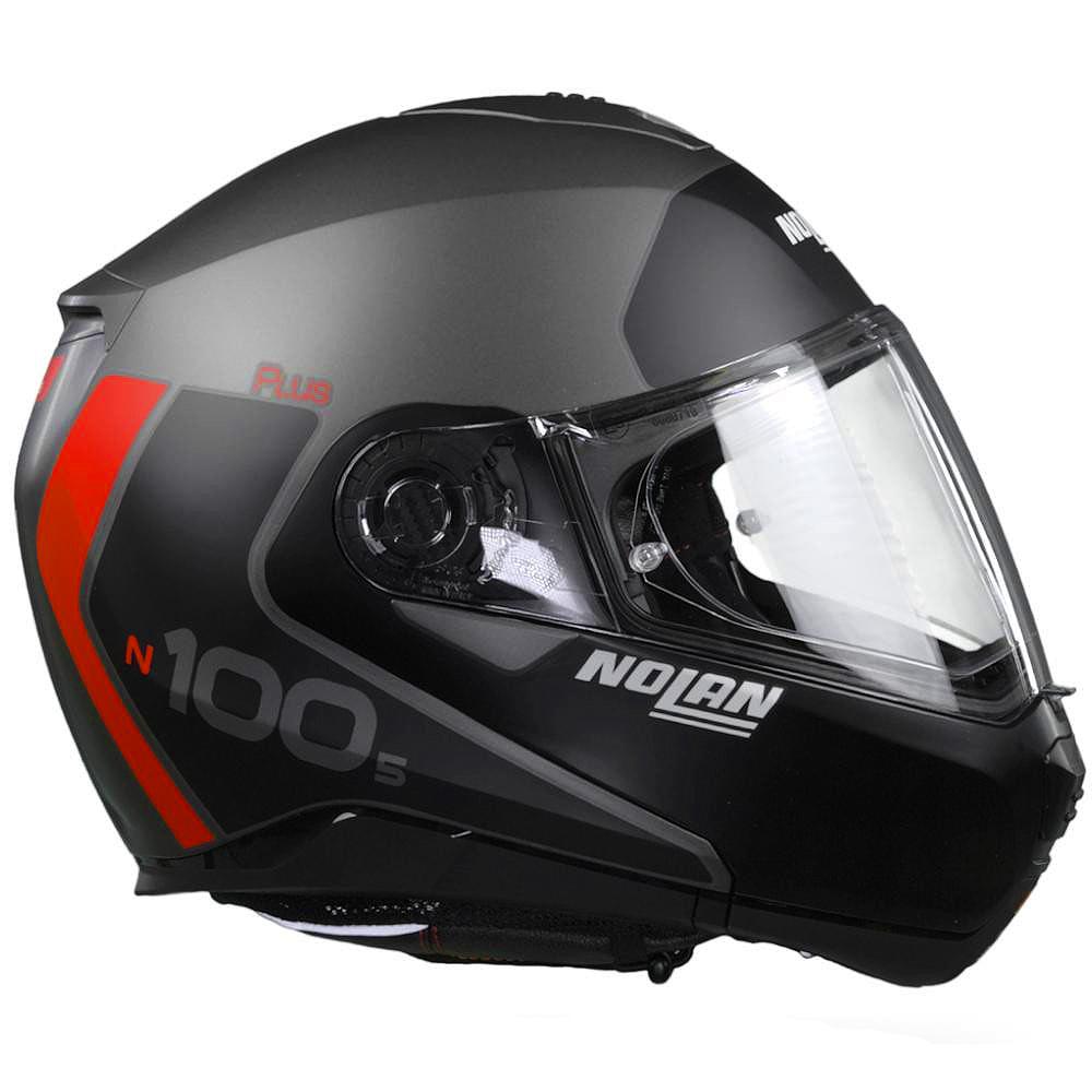 Capacete Nolan N100-5 Plus Distinctive - Preto/Cinza/Vermelho - c/ Viseira Interna - Escamoteável  - Nova Centro Boutique Roupas para Motociclistas