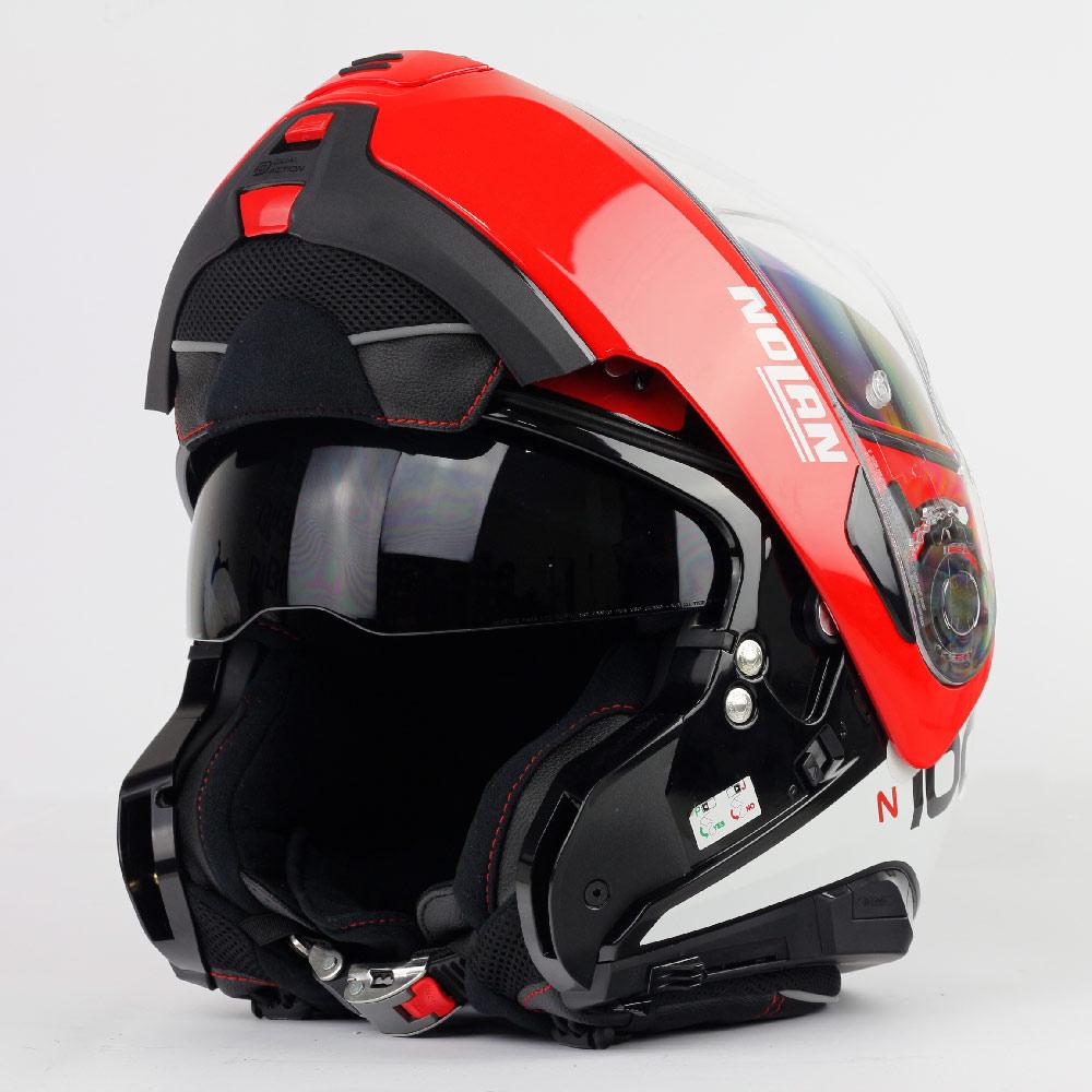 Capacete Nolan N100-5 Plus Distinctive - Preto/Vermelho/Branco - c/ Viseira Interna - Escamoteável