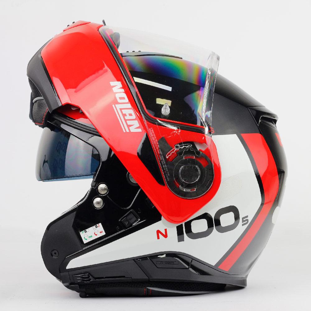 Capacete Nolan N100-5 Plus Distinctive - Preto/Vermelho/Branco (27) - c/ Viseira Interna - Escamoteável