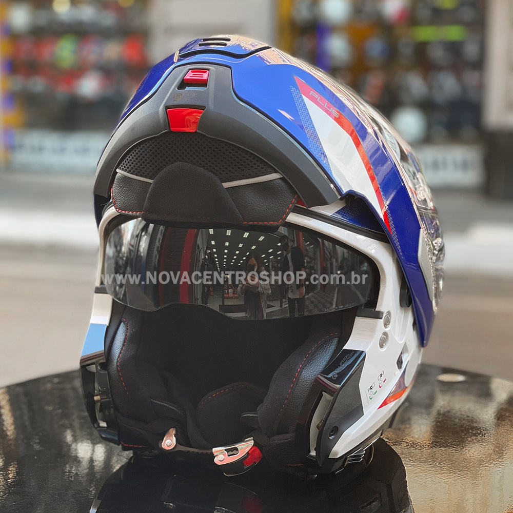 Capacete Nolan N100-5 Plus Overland - Branco/Azul/Vermelho (35) - c/ Viseira Interna  - Nova Centro Boutique Roupas para Motociclistas