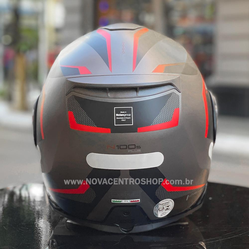 Capacete Nolan N100-5 Plus Overland - Cinza/Vermelho Fosco (32) - c/ Viseira Interna  - Nova Centro Boutique Roupas para Motociclistas