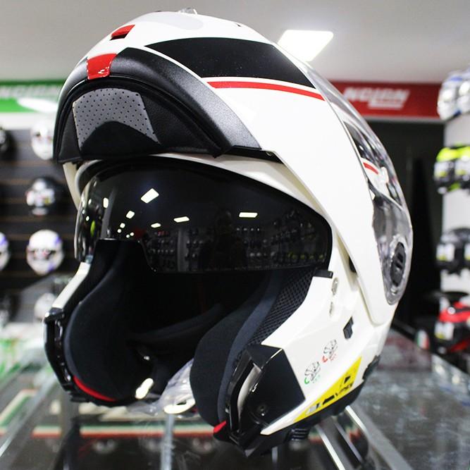 Capacete Nolan N104 Evo Scovery N-Com WHITE/BLACK RED Escamoteável  - Nova Centro Boutique Roupas para Motociclistas