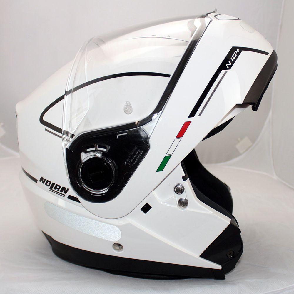 Capacete Nolan N104 Evo Storm N-Com METAL WHITE Escamoteável  - Nova Centro Boutique Roupas para Motociclistas