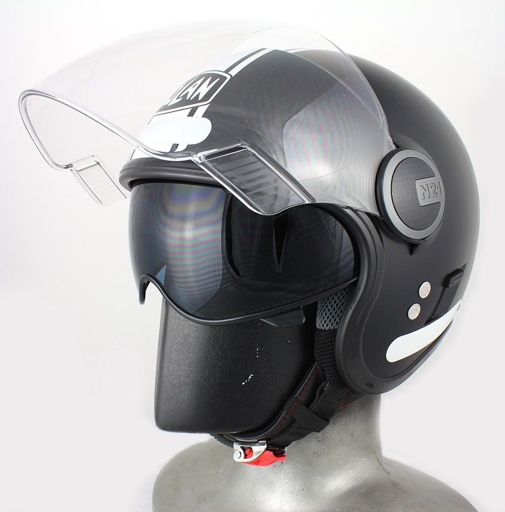 Capacete Nolan N21 Preto/Branco Fosco C/ Viseira Solar Interna Aberto - SUPEROFERTA!   - Nova Centro Boutique Roupas para Motociclistas