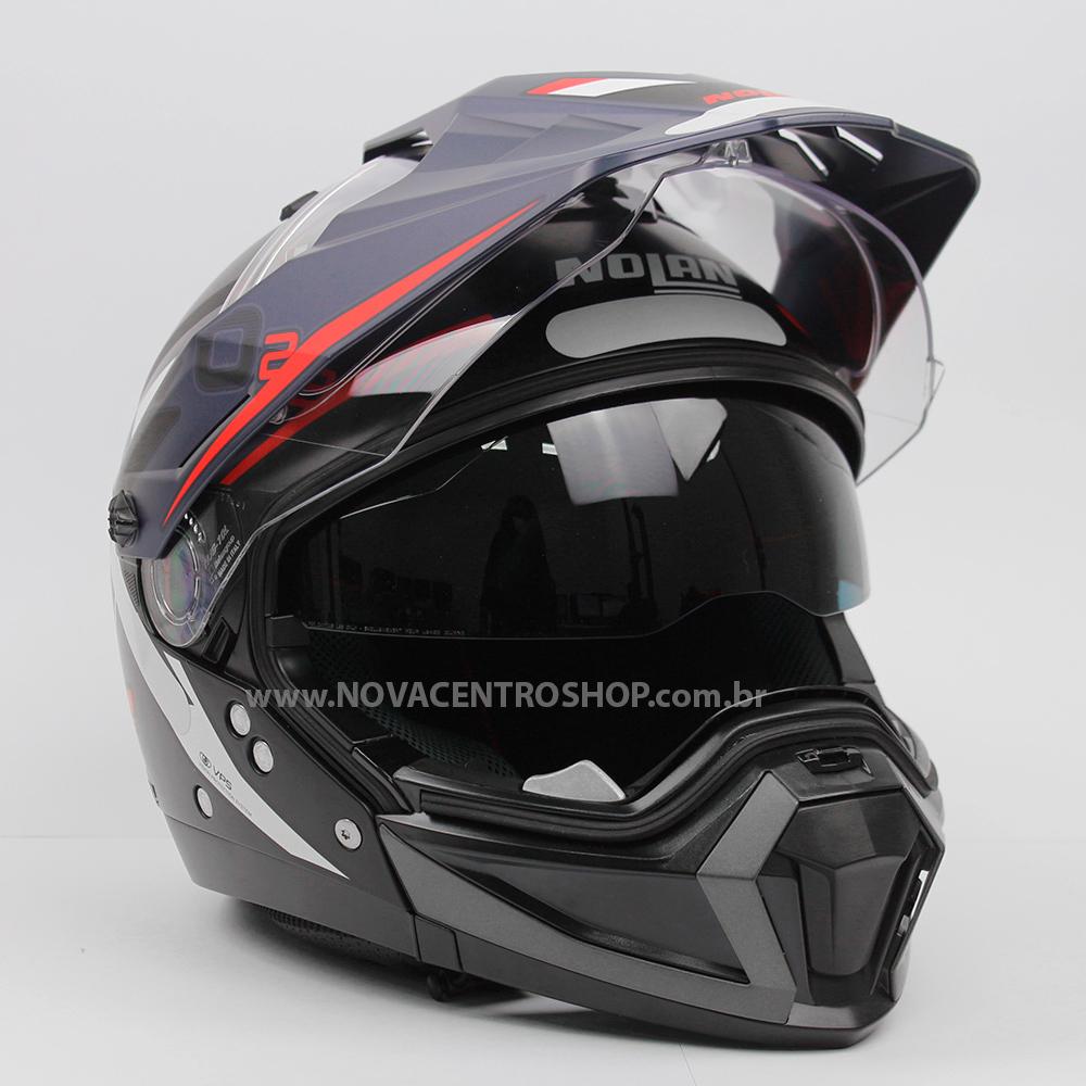 Capacete Nolan N70 2x - Bungee - Azul/Preto/Vermelho (38)  - Nova Centro Boutique Roupas para Motociclistas