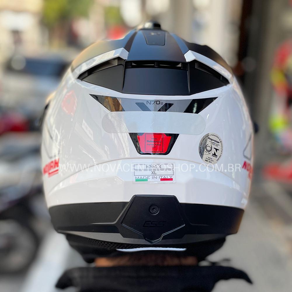Capacete Nolan N70-2X Bungee Branco/Vermelho (39) - Remove queixo  - Nova Centro Boutique Roupas para Motociclistas