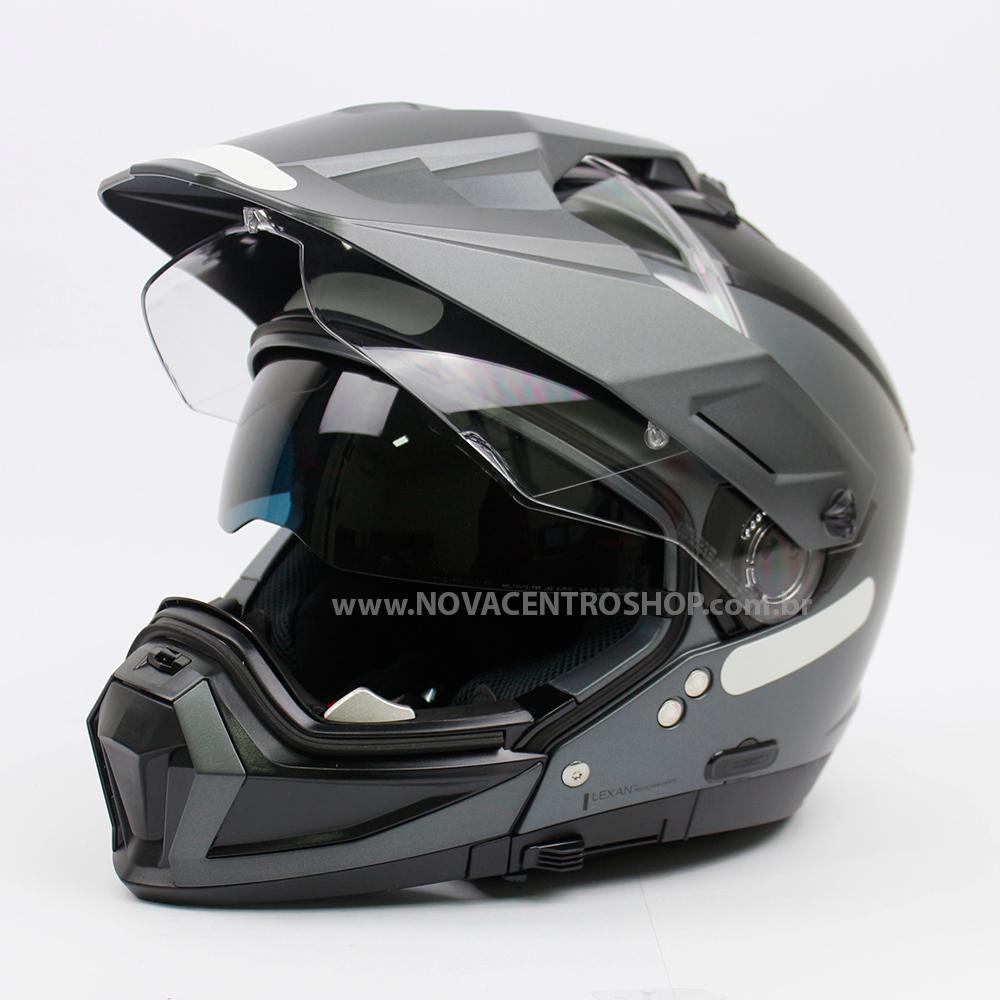 Capacete Nolan N70-2X Classic Cinza Vulcan (2) - Remove queixo  - Nova Centro Boutique Roupas para Motociclistas