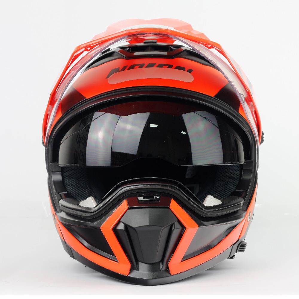 Capacete Nolan N70-2X Decurio Cinza/Laranja - Remove queixo  - Nova Centro Boutique Roupas para Motociclistas
