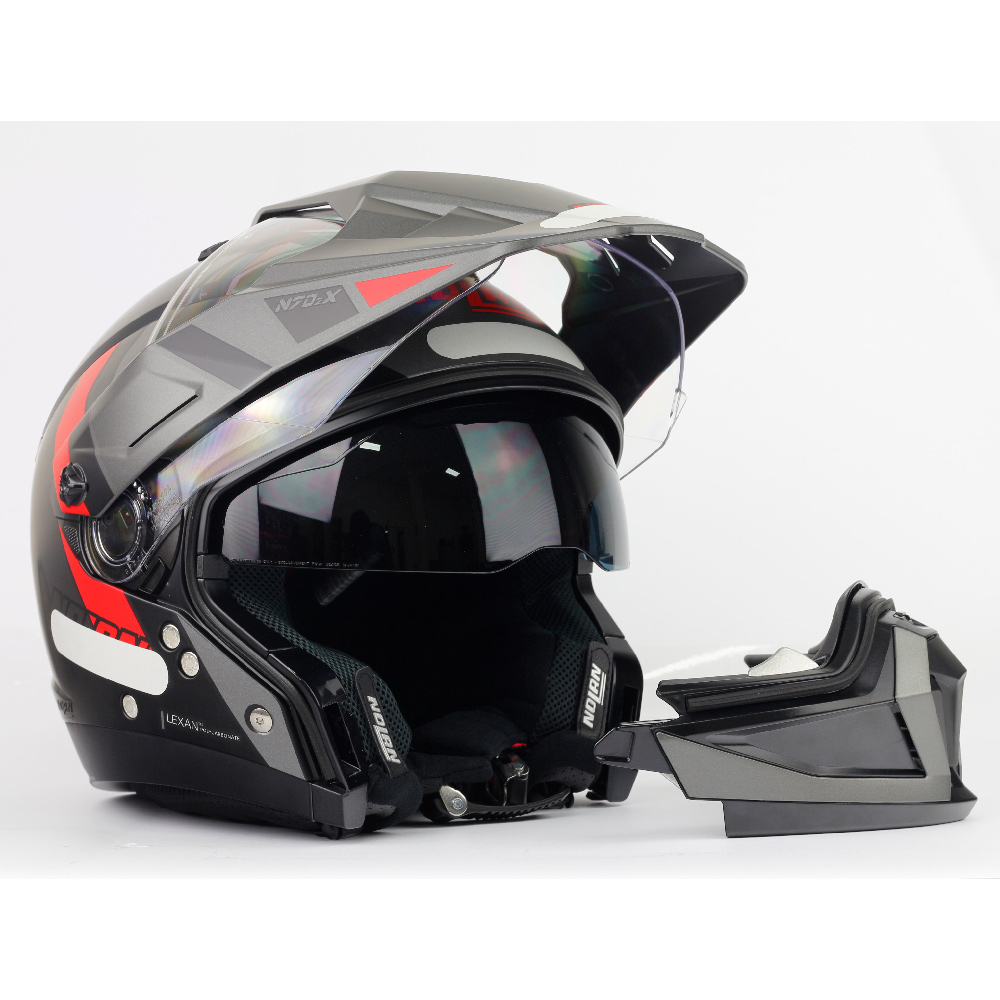 Capacete Nolan N70-2X Decurio Preto/Cinza/Vermelho - Remove queixo  - Nova Centro Boutique Roupas para Motociclistas