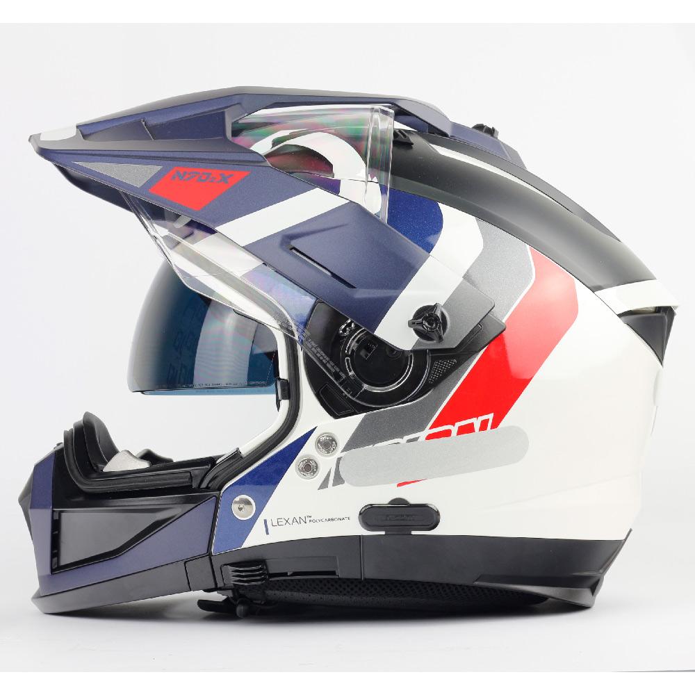 Capacete Nolan N70-2X Decurio Tricolor Azul/Branco/Vermelho - Remove queixo  - Nova Centro Boutique Roupas para Motociclistas