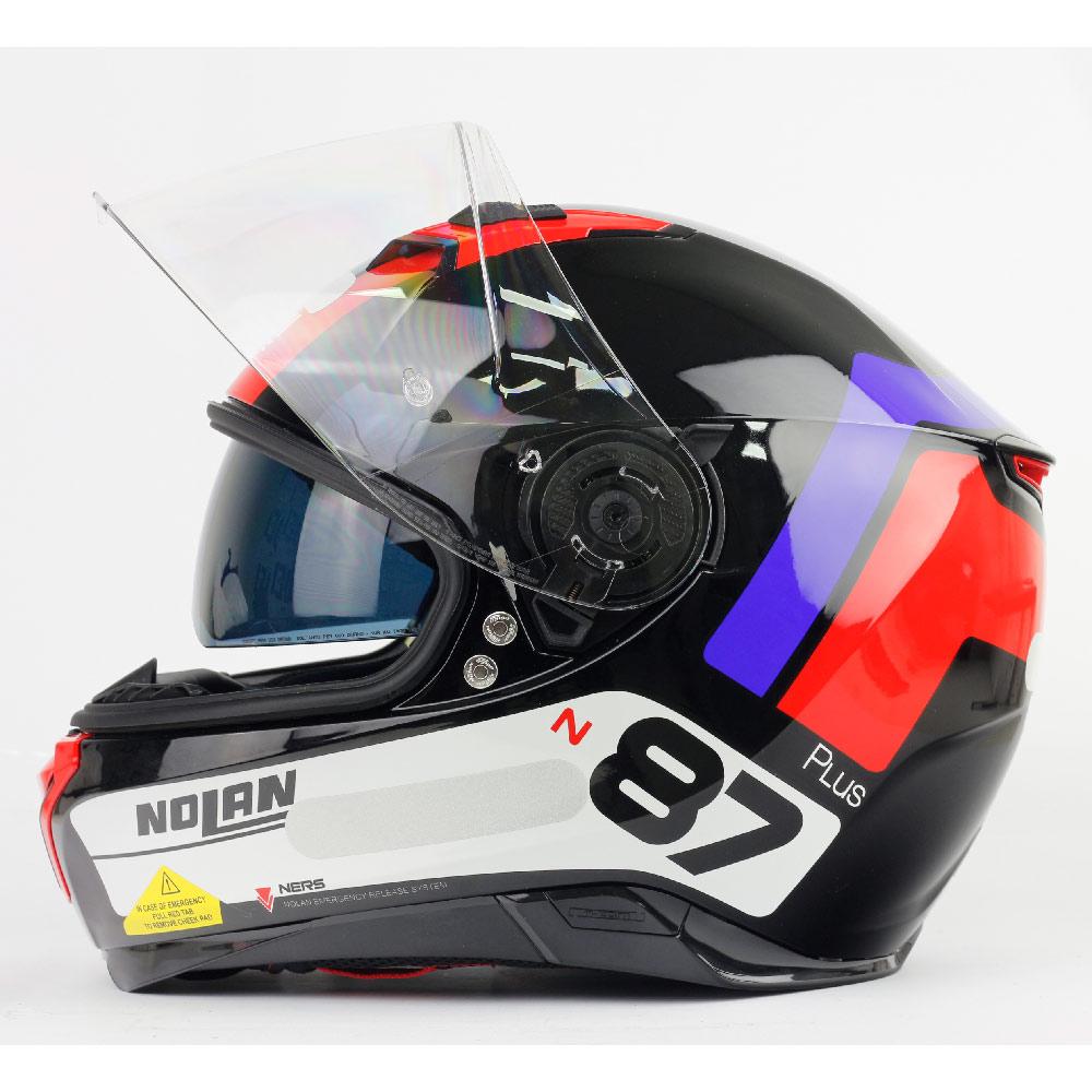 Capacete Nolan N87 Plus Distinctive - Preto/Azul/Vermelho - c/ Viseira Interna e Pinlock  - Nova Centro Boutique Roupas para Motociclistas
