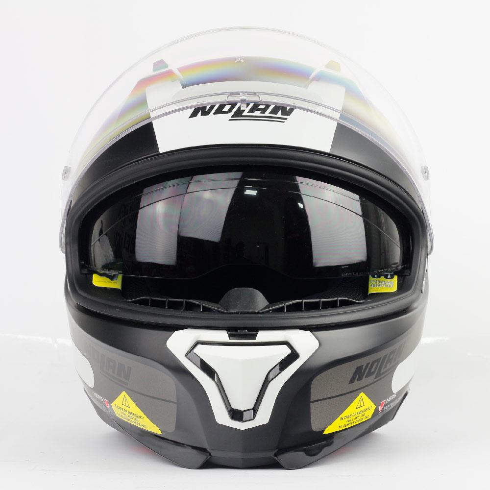 Capacete Nolan N87 Plus Distinctive - Preto/Branco - c/ Viseira Interna e Pinlock  - Nova Centro Boutique Roupas para Motociclistas