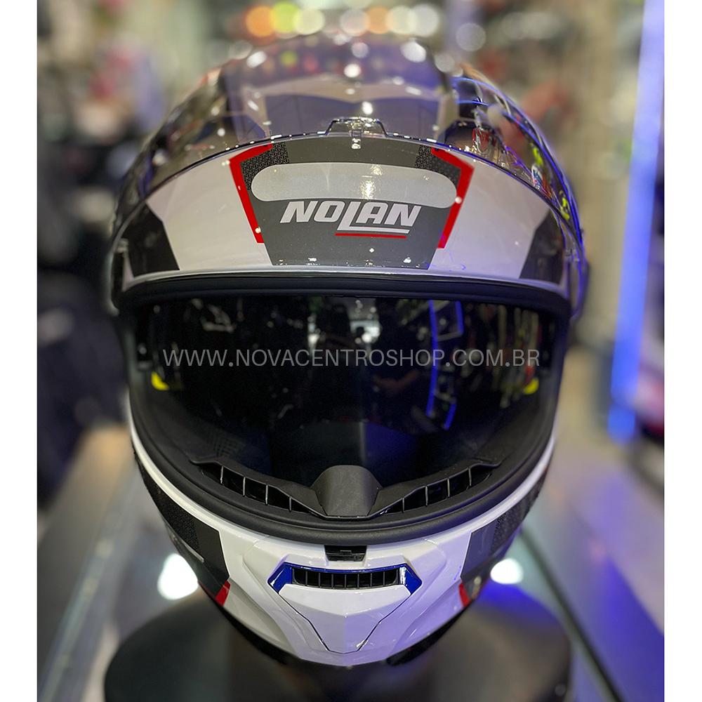 Capacete Nolan N87 Plus Overland - Branco/Vermelho/Azul (36) - c/ Viseira Interna e Pinlock  - Nova Centro Boutique Roupas para Motociclistas