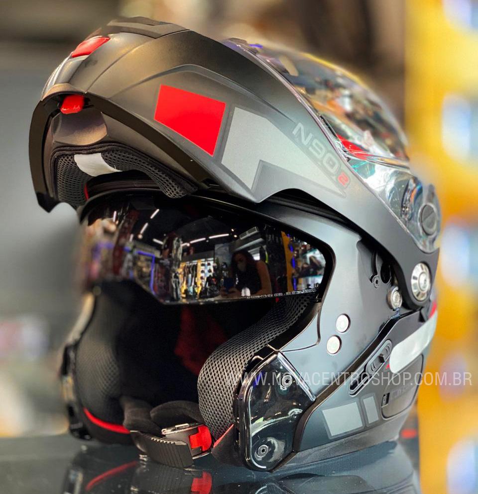CAPACETE NOLAN N90-2 EUCLID VERMELHO FOSCO (25) - LANÇAMENTO  - Nova Centro Boutique Roupas para Motociclistas