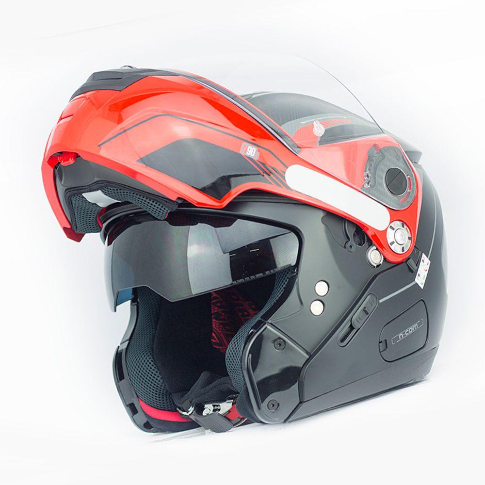 Capacete Nolan N90-2 Straton - Preto Liso - Escamoteável  C/ Viseira Solar Interna  - Nova Centro Boutique Roupas para Motociclistas