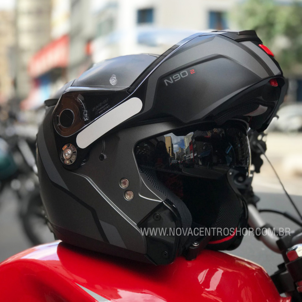Capacete Nolan N90 Meridianus - Preto/Cinza - Escamoteável  C/ Viseira Solar Interna  - Nova Centro Boutique Roupas para Motociclistas