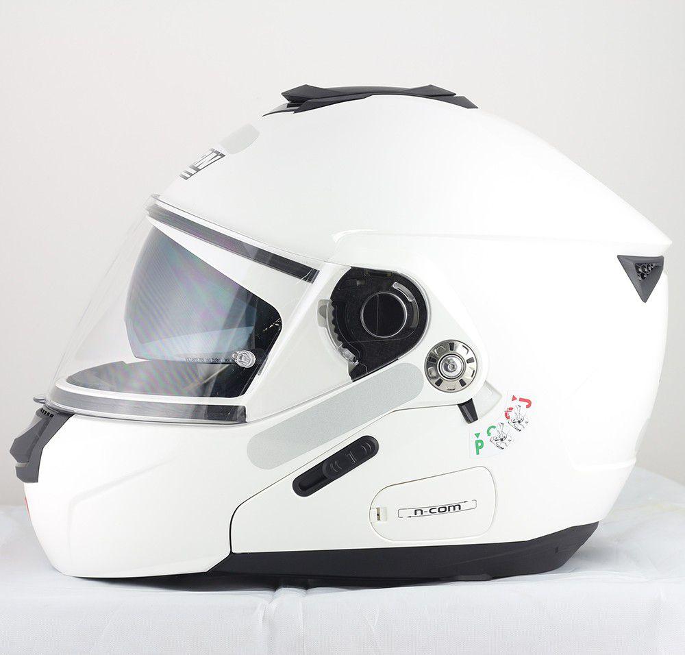 Capacete Nolan N90 Special - Branco - Escamoteável  C/ Viseira Solar Interna  - Nova Centro Boutique Roupas para Motociclistas