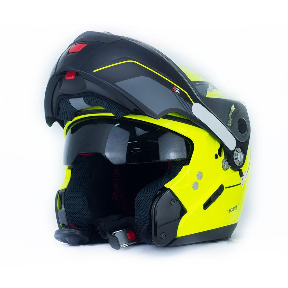 Capacete Nolan N90 Straton Amarelo Escamoteável  C/ Viseira Solar Interna