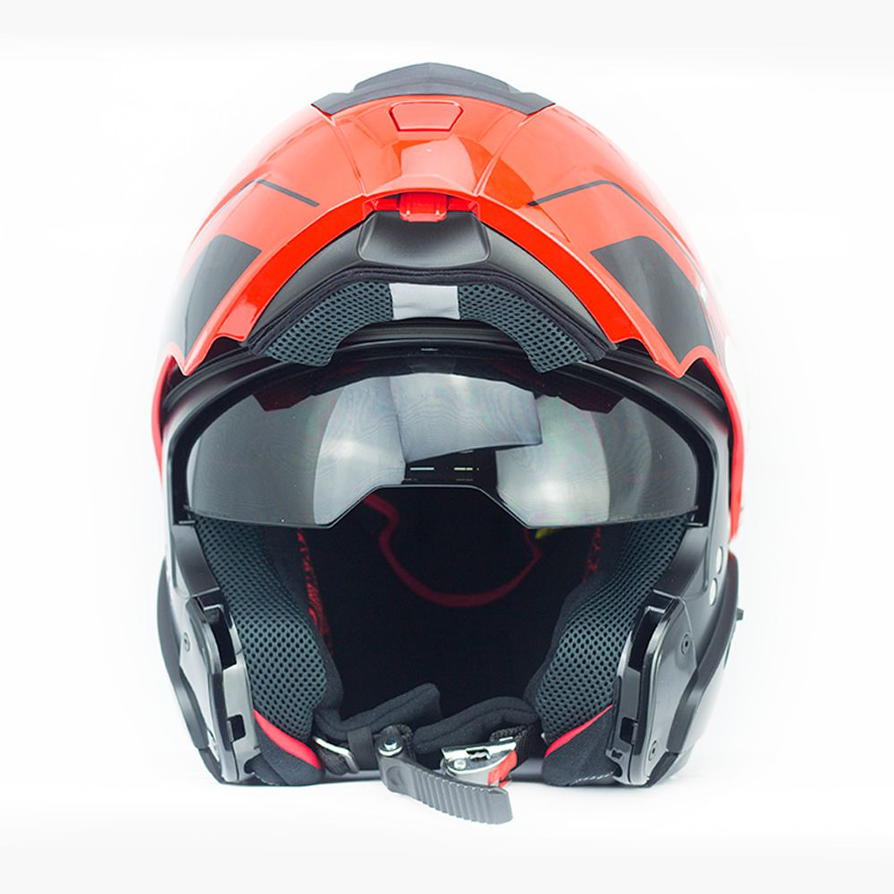 Capacete Nolan N90 Straton - Preto e Vermelho - Escamoteável  C/ Viseira Solar Interna  - Nova Centro Boutique Roupas para Motociclistas