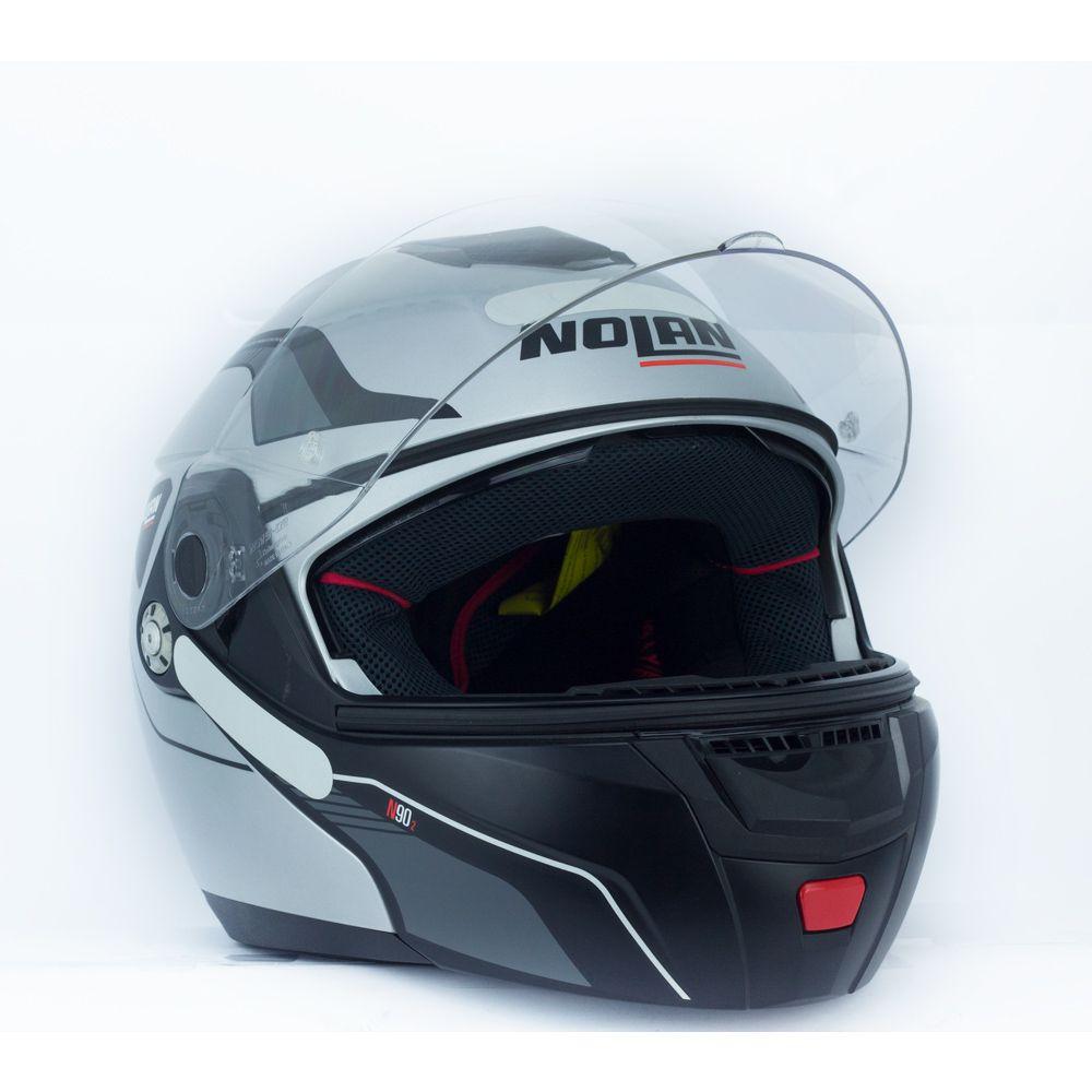 Capacete Nolan N90 Straton Prata Escamoteável  C/ Viseira Solar Interna  - Nova Centro Boutique Roupas para Motociclistas