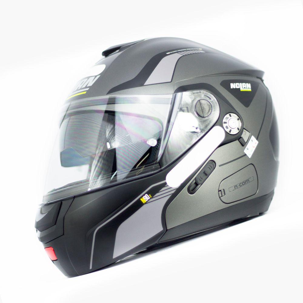 Capacete Nolan N90 Straton Lava - Cinza - Escamoteável  C/ Viseira Solar Interna  - Nova Centro Boutique Roupas para Motociclistas