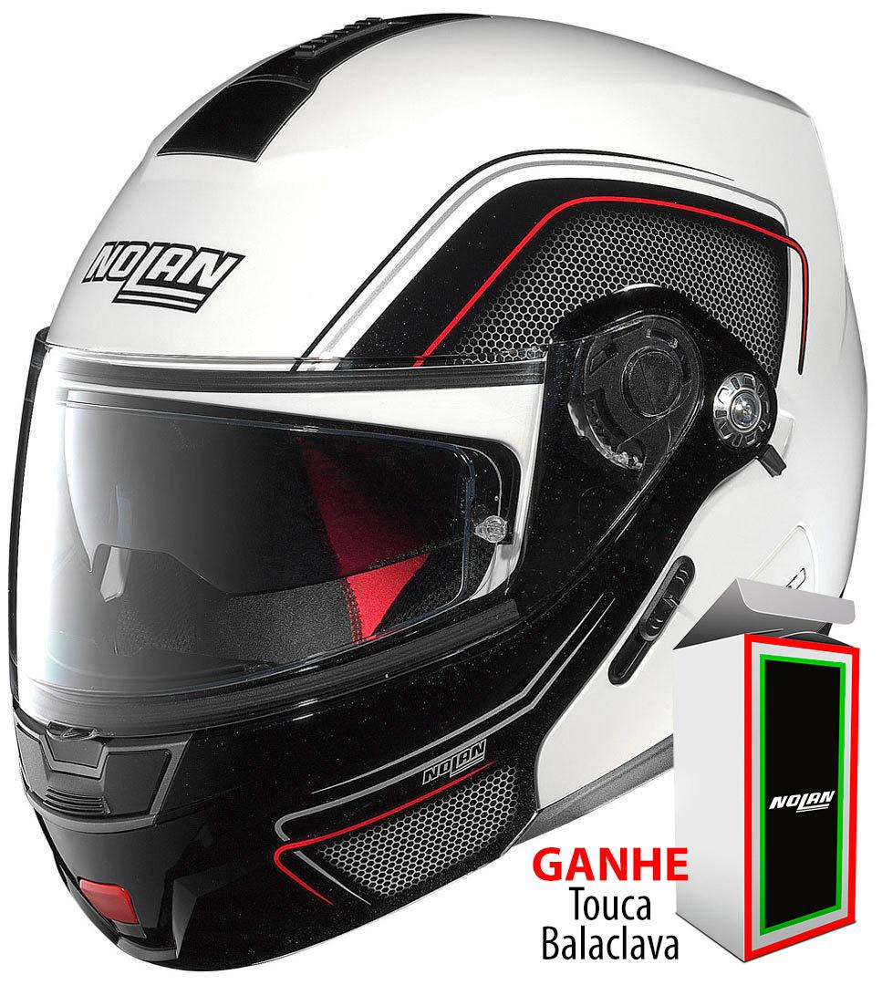 Capacete Nolan N91 Evo Ammersee N-Com - Branco/Preto com Viseira Solar  - Nova Centro Boutique Roupas para Motociclistas