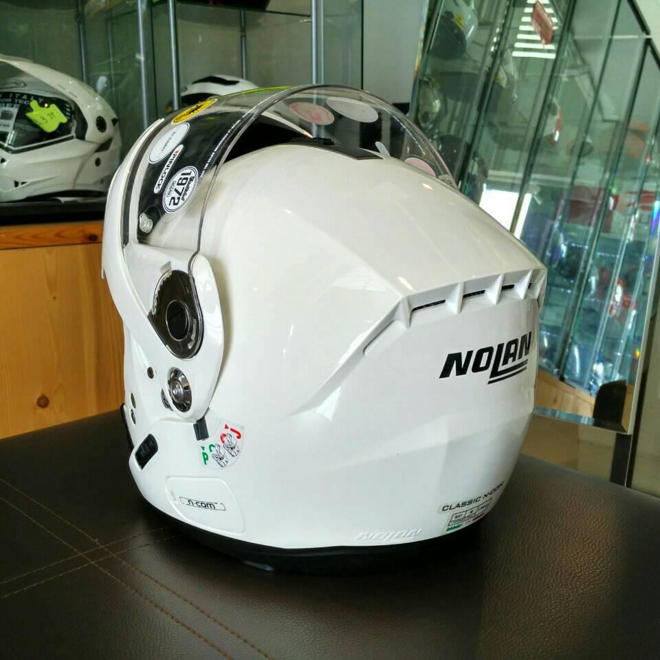 Capacete Nolan N91 Evo Classic Branco Escamoteável C/ Viseira Solar Interna - Ganhe Touca Balaclava  - Nova Centro Boutique Roupas para Motociclistas