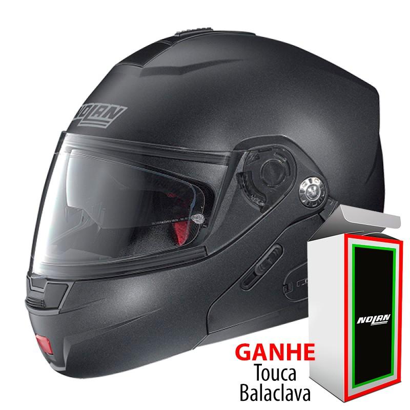 Capacete Nolan N91  Flat black - Escamoteável com Viseira interna escura  - Nova Centro Boutique Roupas para Motociclistas