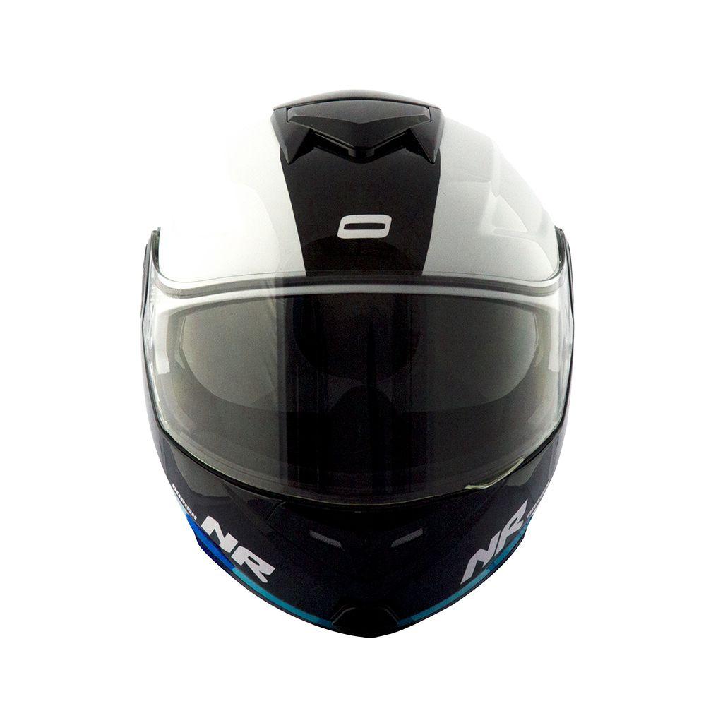 Capacete Norisk FF345 Escamoteável Route - Branco/Preto/Azul - C/ Viseira Interna  - Nova Centro Boutique Roupas para Motociclistas