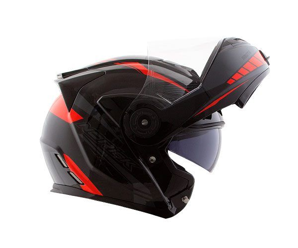 Capacete Norisk FF345 Escamoteável Route Motion Black/Red C/ viseira Interna