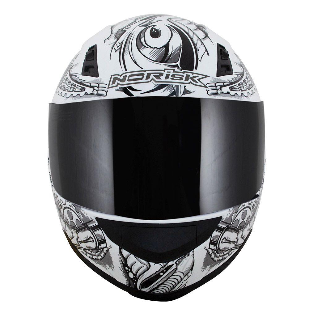Capacete NoRisk FF391 - STUNT - Android - Branco  - Nova Centro Boutique Roupas para Motociclistas