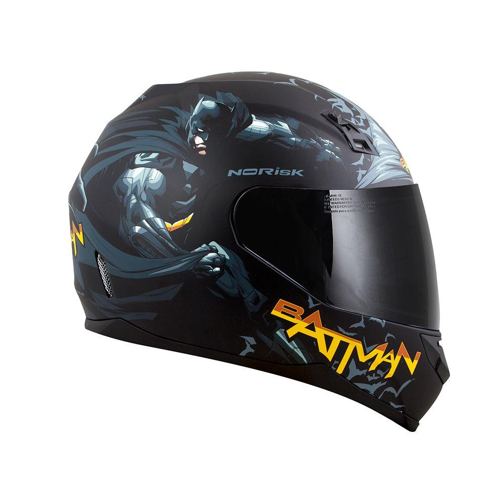 Capacete NoRisk FF391 STUNT - Batman  - Nova Centro Boutique Roupas para Motociclistas