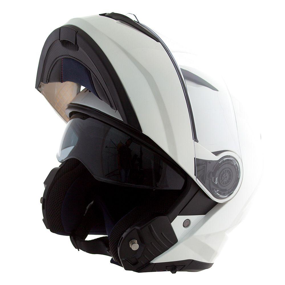 Capacete Norisk Force Escamoteável Gloss White C/ Viseira Interna  - Nova Centro Boutique Roupas para Motociclistas