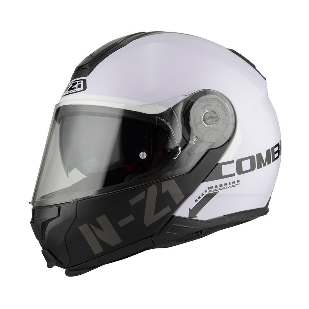 Capacete NZI Combi 2 Flydeck (C/ VISEIRA SOLAR) Branco/Preto - Escamoteável  - Nova Centro Boutique Roupas para Motociclistas