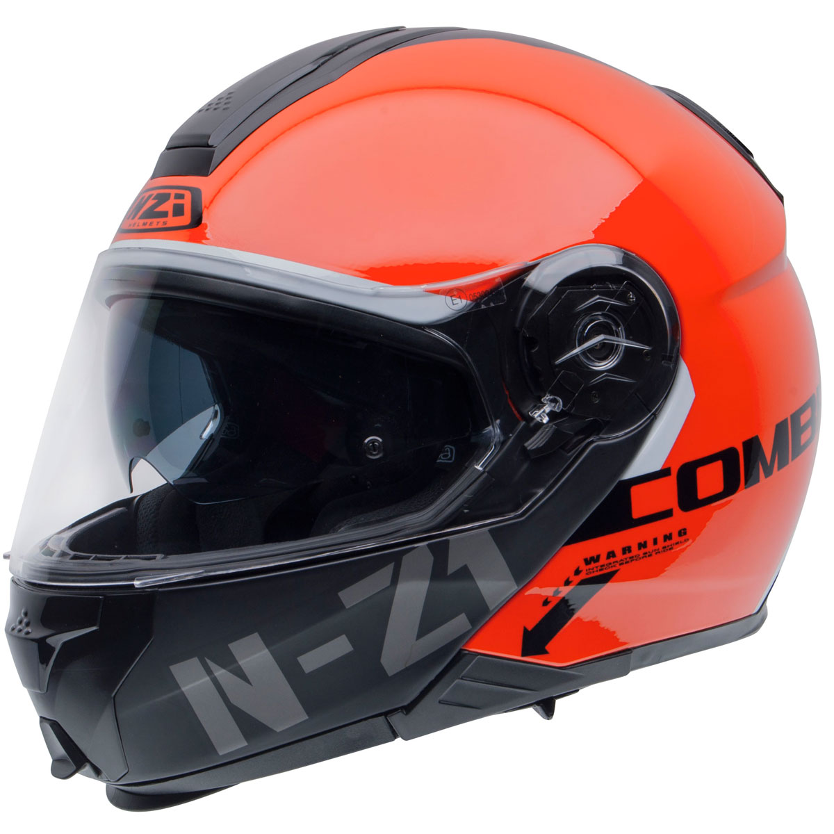 Capacete NZI Combi 2 Flydeck (C/ VISEIRA SOLAR) Laranja - Escamoteável - LANÇAMENTO 2021  - Nova Centro Boutique Roupas para Motociclistas