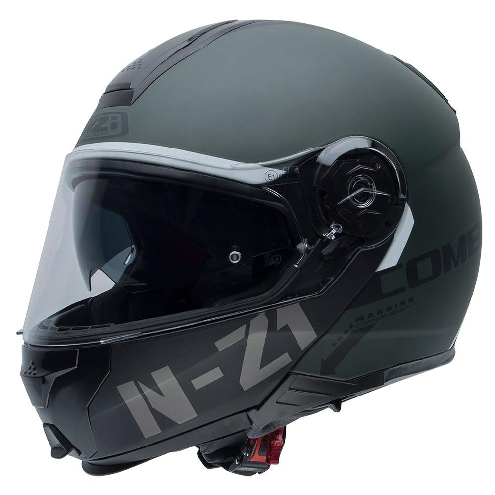 Capacete NZI Combi 2 Flydeck (C/ VISEIRA SOLAR) Verde Fosco - Escamoteável  - Nova Centro Boutique Roupas para Motociclistas